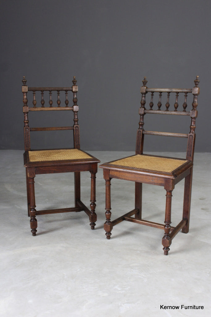 Pair Oak & Cane Dining Chairs
