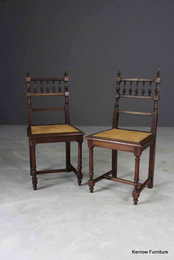 Pair Oak & Cane Dining Chairs - Kernow Furniture