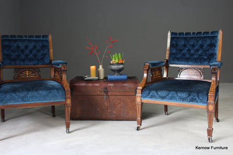 Pair Antique Upholstered Rosewood Armchairs - Kernow Furniture