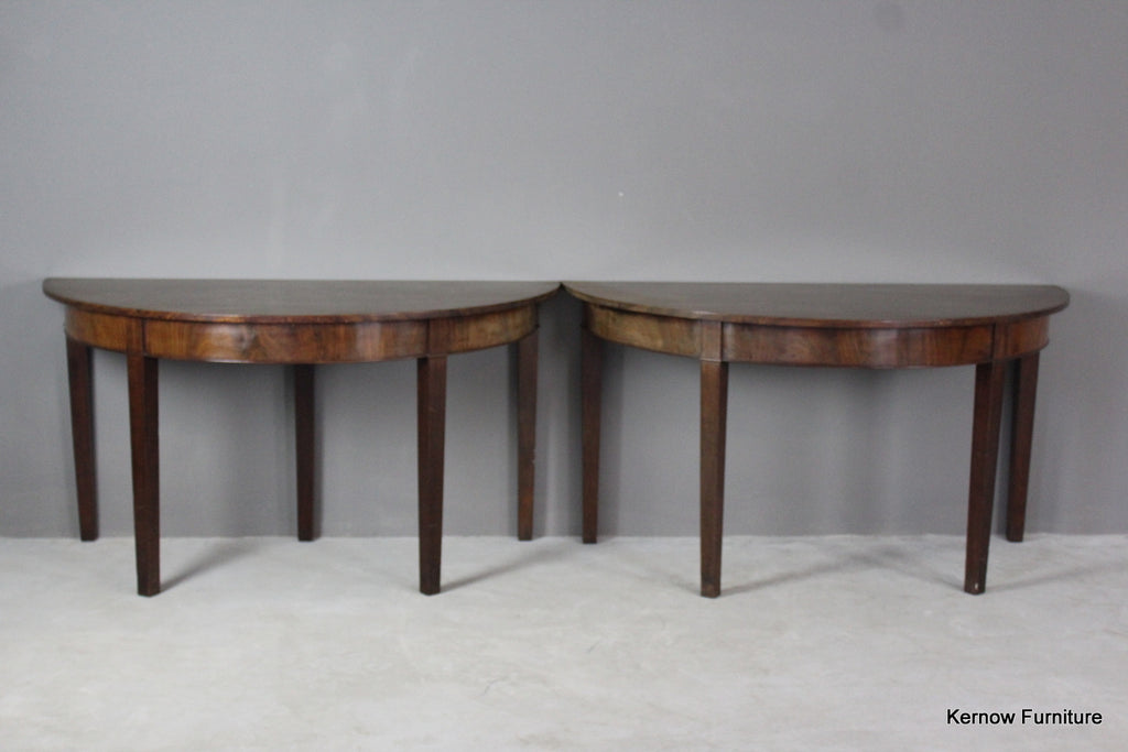 Pair Antique Georgian Mahogany D End Tables - Kernow Furniture