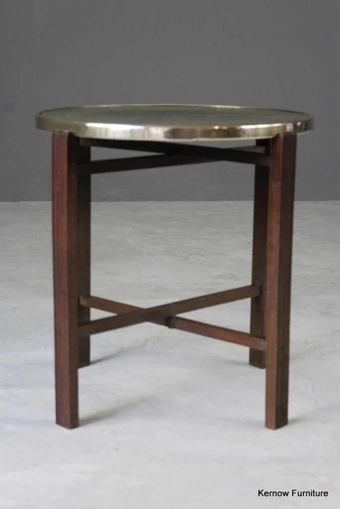 Round Eastern Brass Coffee Table