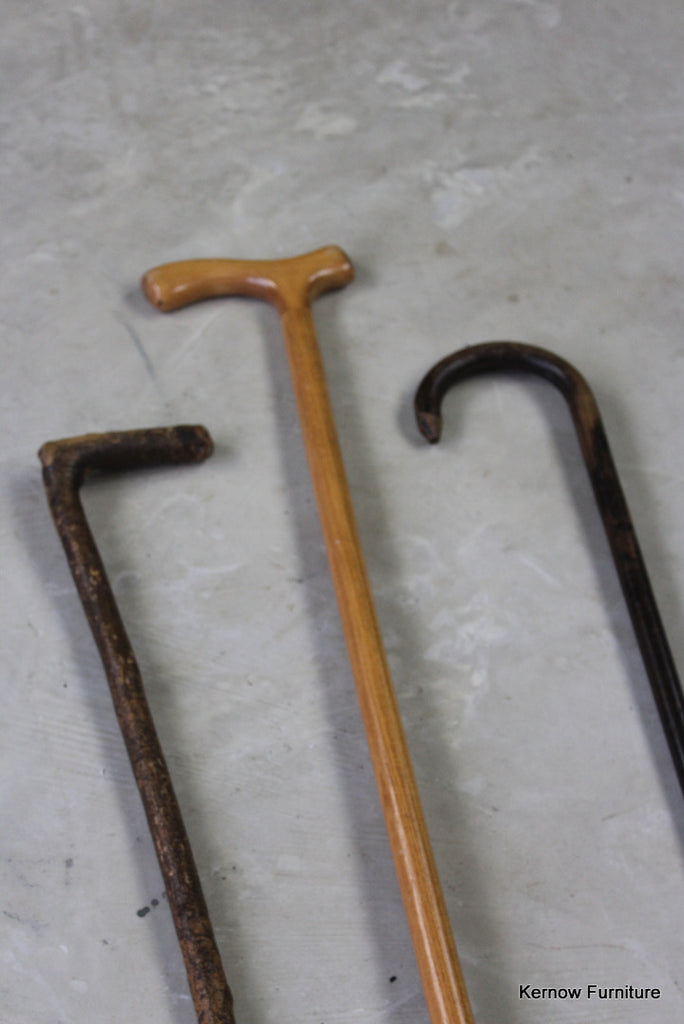 3 Vintage Walking Canes - vintage retro and antique furniture