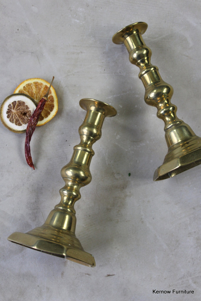 Pair Victorian Brass Candlesticks