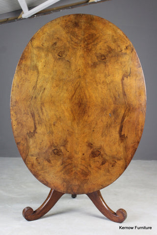 Large Antique Oval Walnut Tilt Top Table