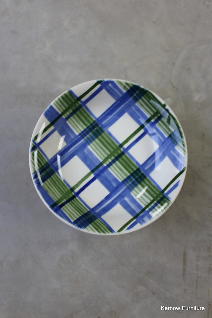 8 Blue & Green Check Cereal Bowl - vintage retro and antique furniture