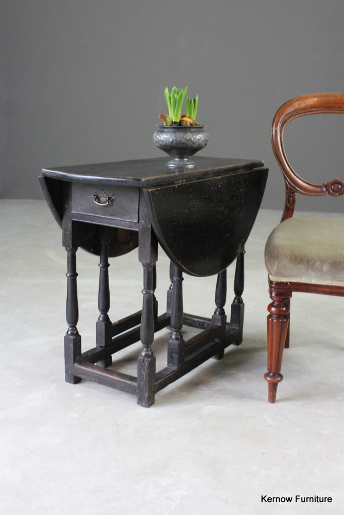 Ebonised Oak Drop Leaf Occasional Table - Kernow Furniture