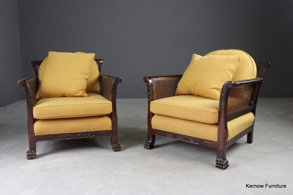 Pair Early 20th Century Bergere Armchairs