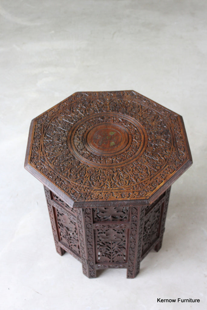 Indian Carved Side Table - Kernow Furniture