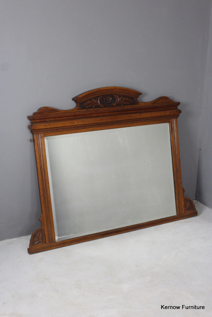 Edwardian Walnut Overmantle Mirror