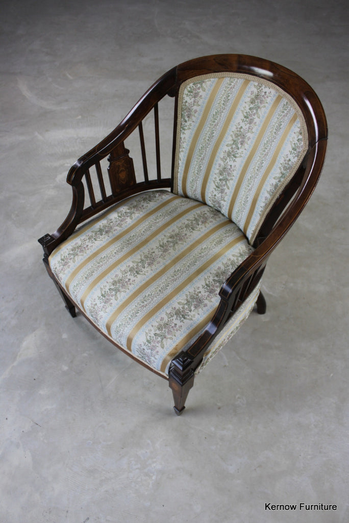Victorian Rosewood Tub Chair - Kernow Furniture