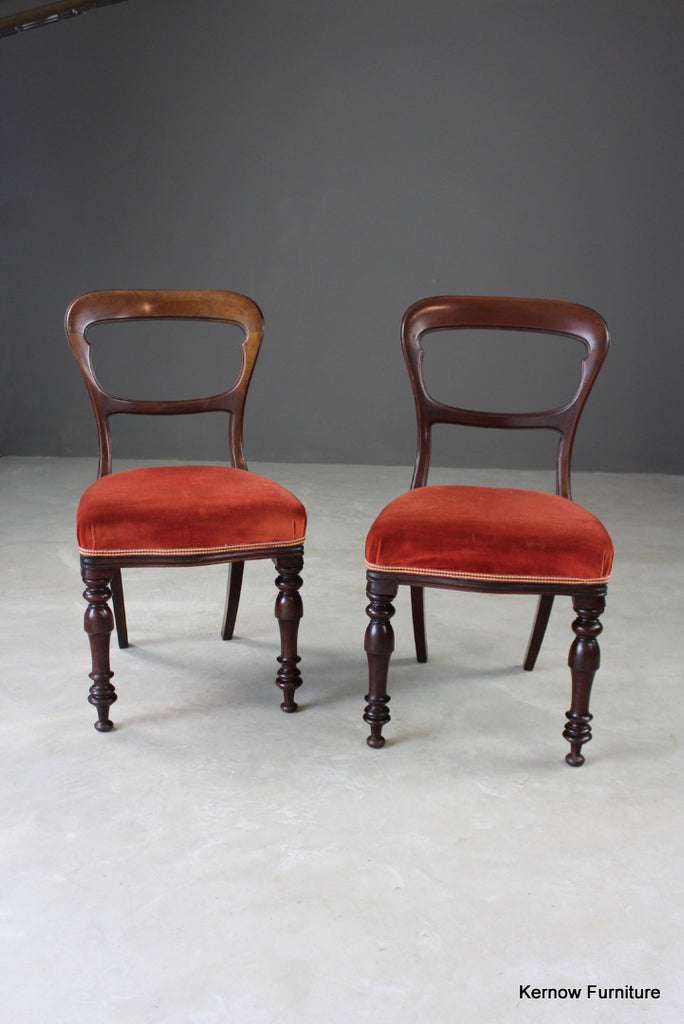 Pair Antique Walnut Dining Chairs
