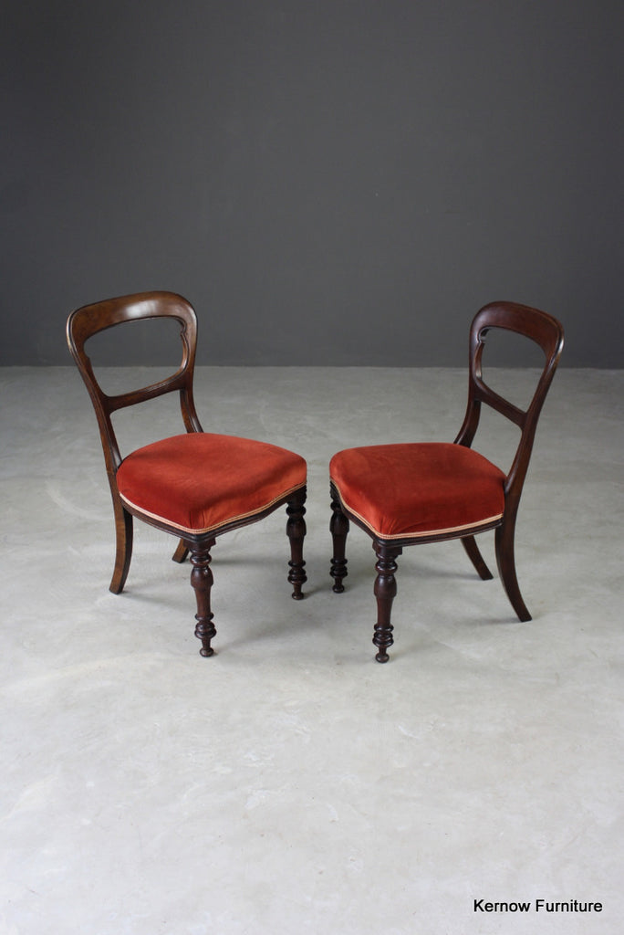 Pair Antique Walnut Dining Chairs - Kernow Furniture
