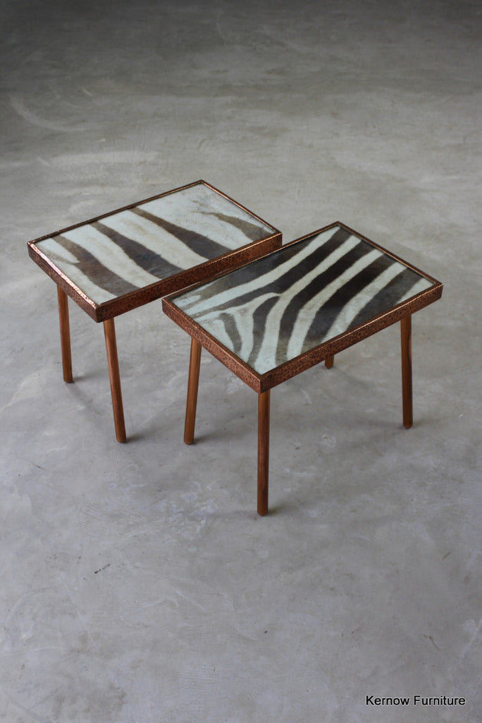 Pair Copper & Zebra Hide Side Tables - Kernow Furniture