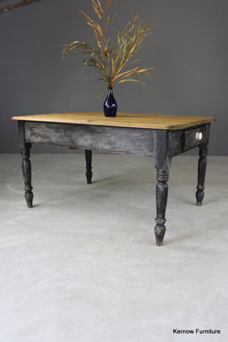 Antique Pine Kitchen Table - vintage retro and antique furniture