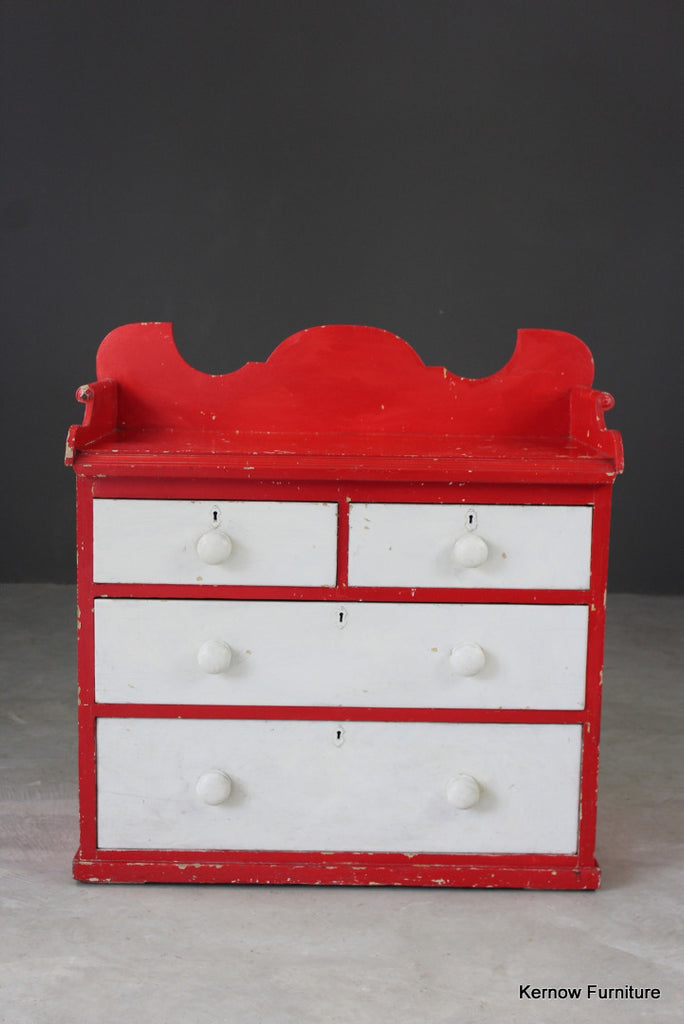 Painted Pine Chest with Gallery Back - Kernow Furniture