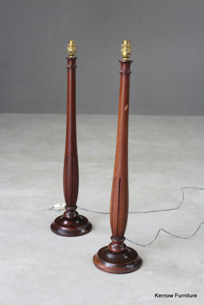 Pair Fluted Table Lamps - Kernow Furniture