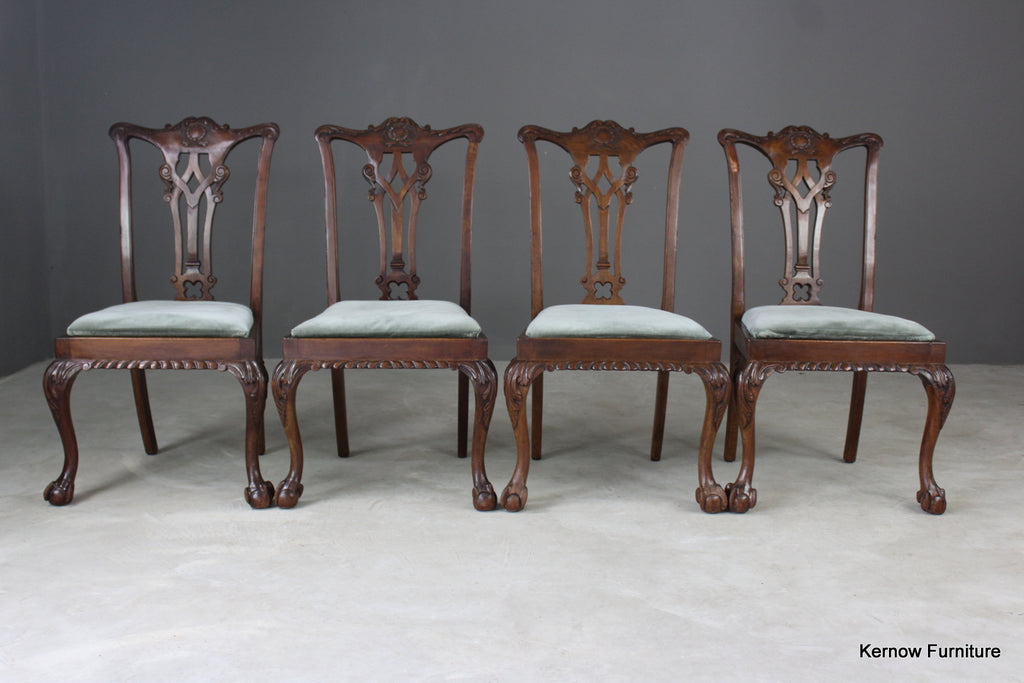 4 Chippendale Style Dining Chairs - vintage retro and antique furniture