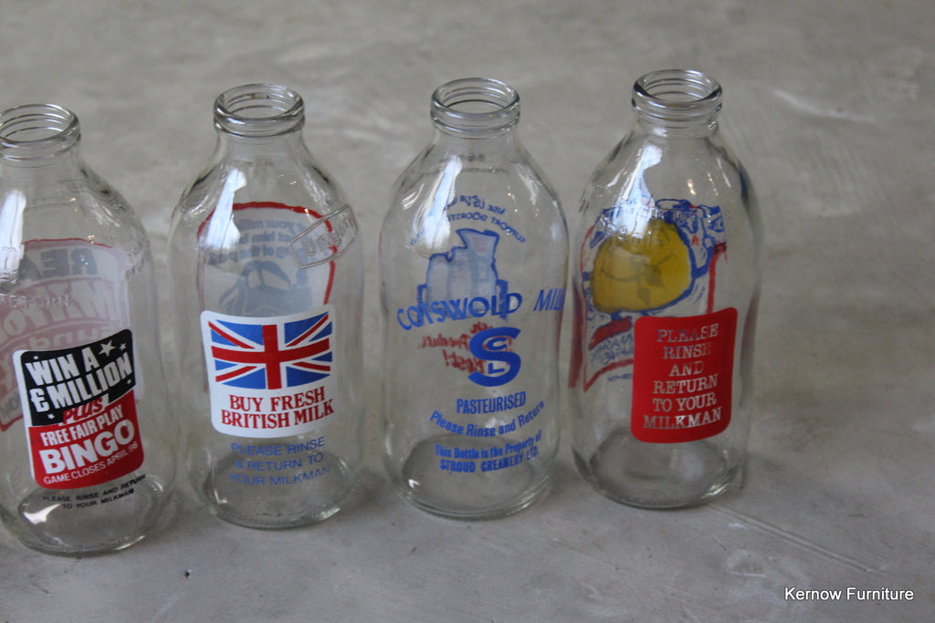 Collection of 6 Retro Glass Milk Bottles - Kernow Furniture