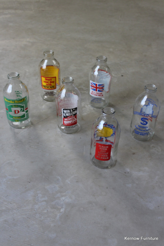 Collection of 6 Retro Glass Milk Bottles