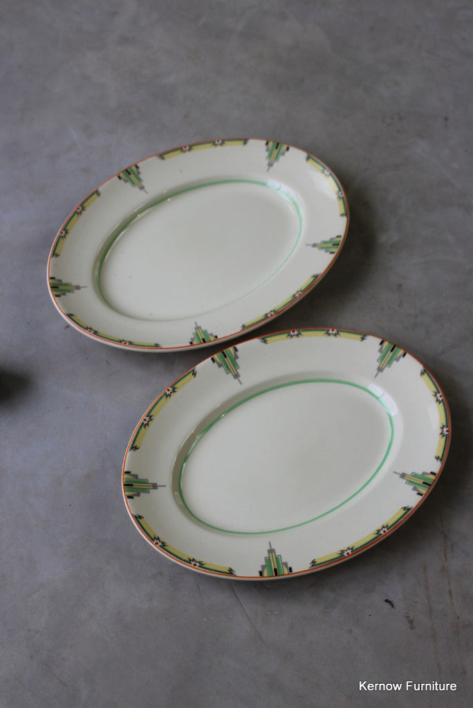 Woods Ivoryware Art Deco Oval Plates