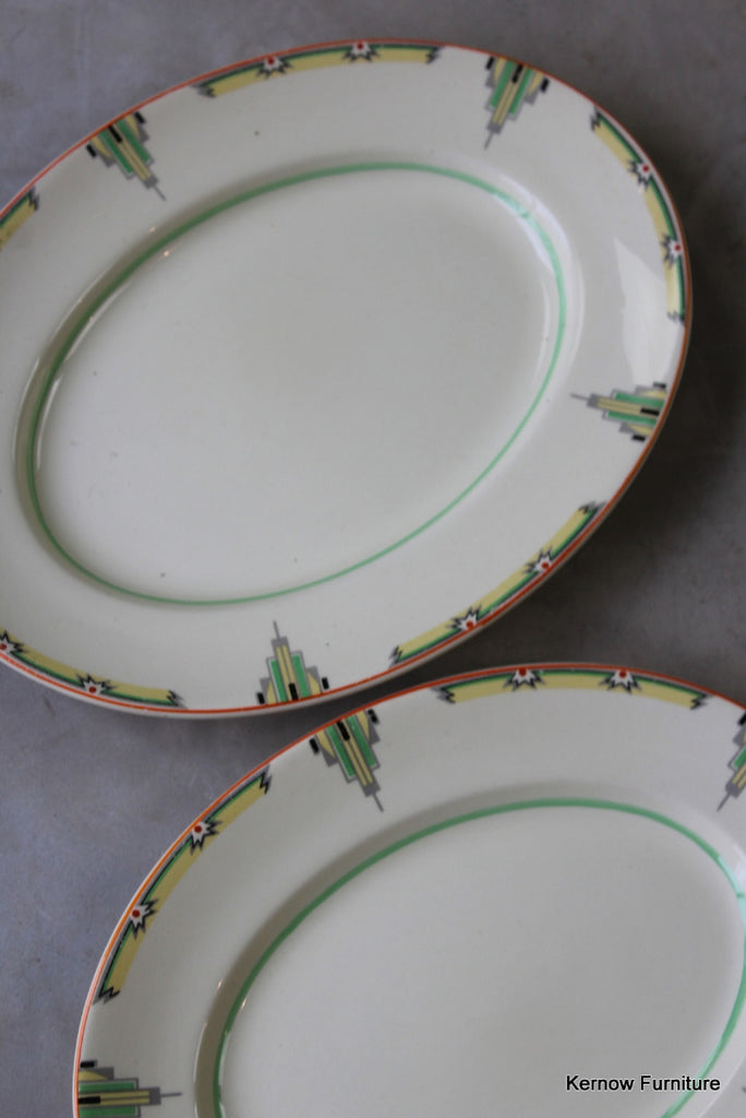 Woods Ivoryware Art Deco Oval Plates - Kernow Furniture