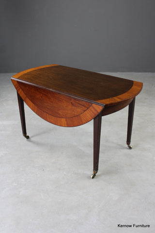 Antique Mahogany & Satinwood Drop Leaf Table - vintage retro and antique furniture