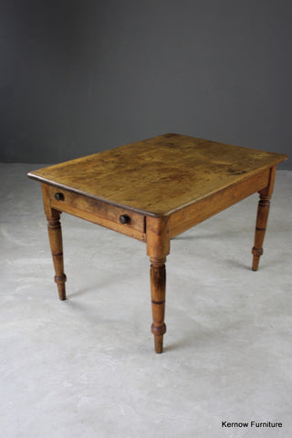 Antique Victorian Pine Kitchen Table - Kernow Furniture