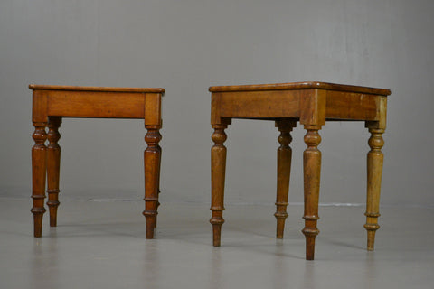 Pair Antique 19th Century Mahogany Short Stools - Kernow Furniture 100s vintage, retro & antique items in stock