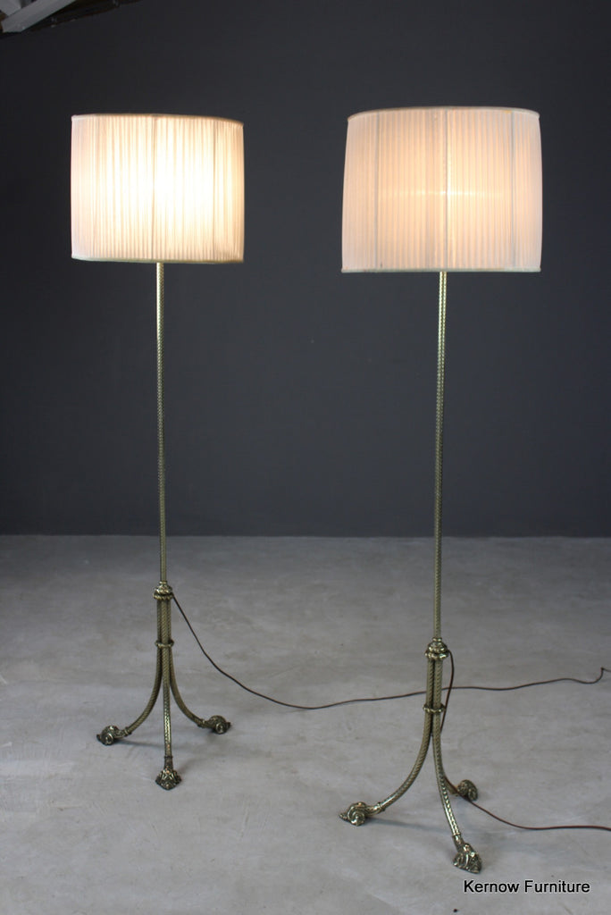 Pair Brass Standard Lamps