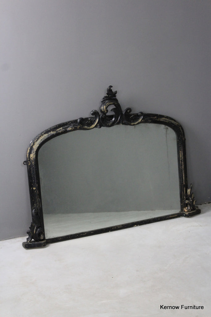 Black Victorian Ornate Overmantle Mirror - vintage retro and antique furniture