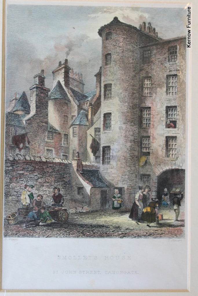 Pair Antique Scottish Prints - Smollets House & Tolbooth Wynd