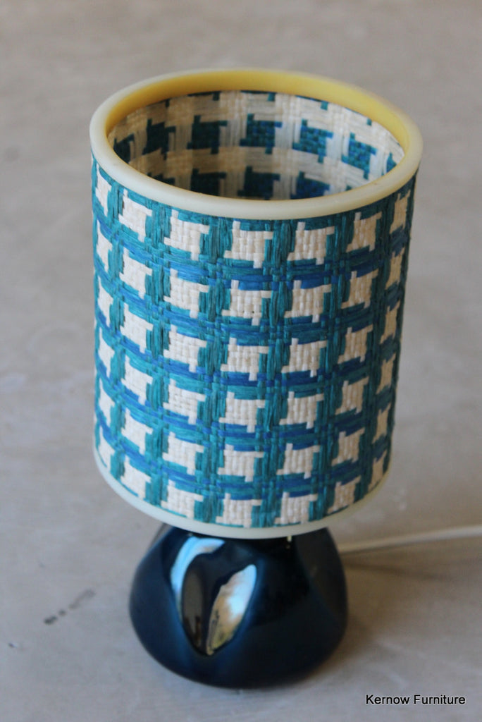 Blue Vintage Table Lamp & Shade - vintage retro and antique furniture