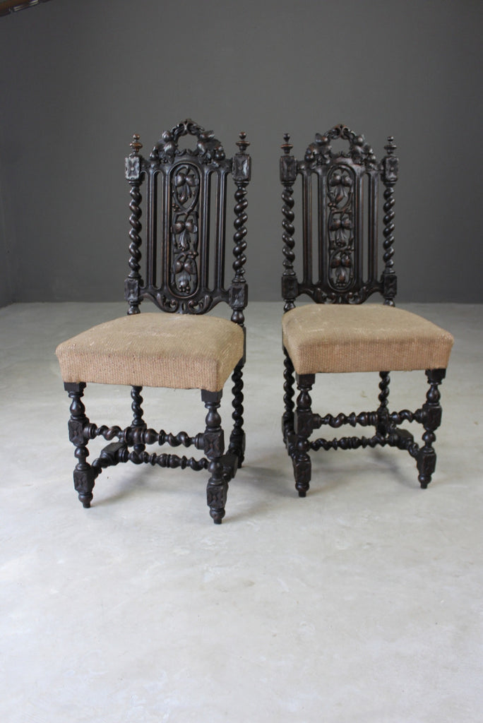 Pair Victorian Carved Oak Hall Chairs