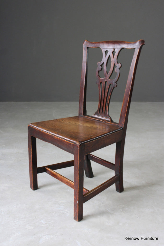 Antique Georgian Elm Hall Chair - vintage retro and antique furniture