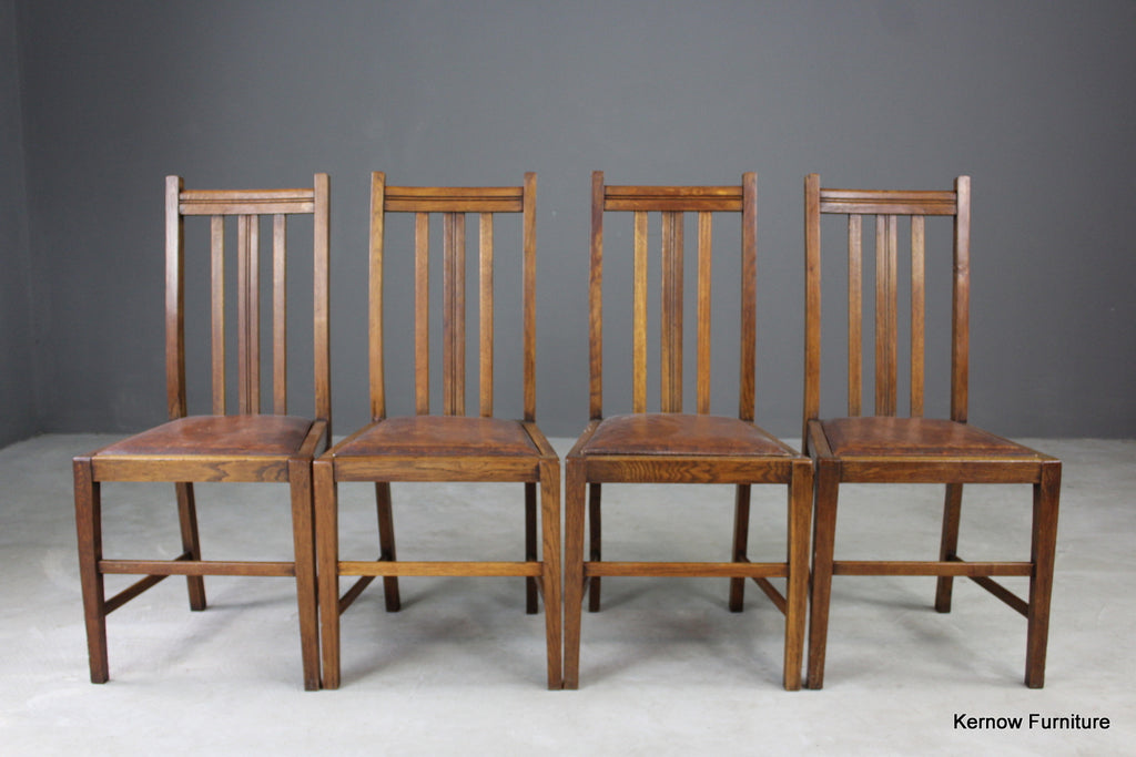 Set 4 Mid Century Oak Dining Chairs