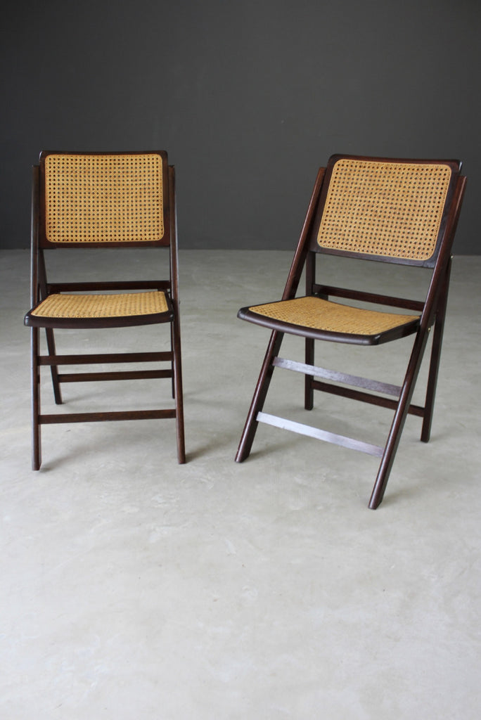 Pair Folding Cane Chairs