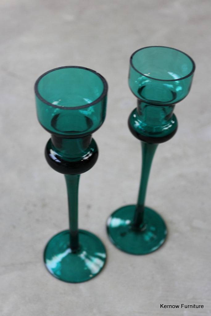 Pair Green Glass Candlesticks - Kernow Furniture