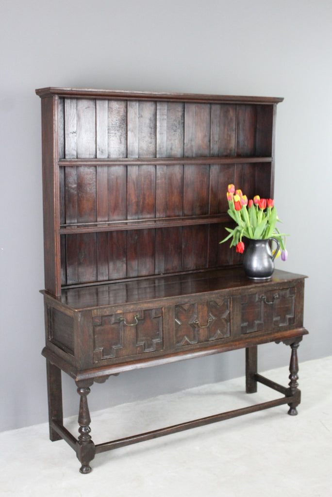 Oak Jacobean Style Dresser - Kernow Furniture