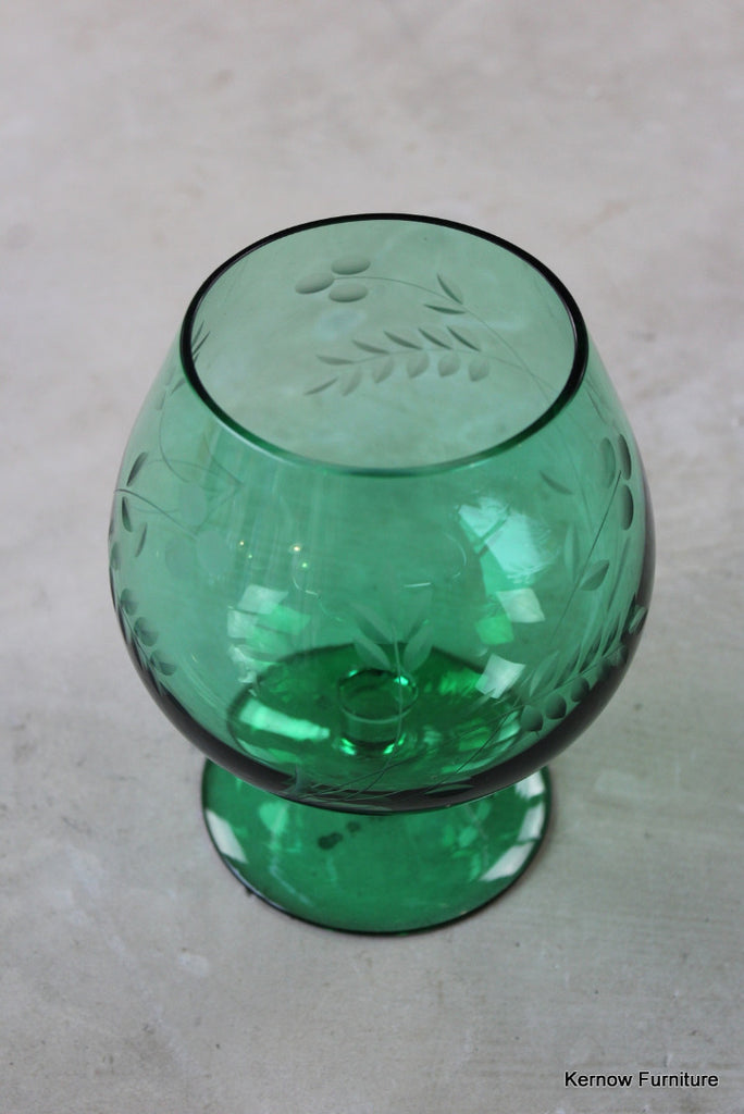 Green Glass Etched Balloon Vase