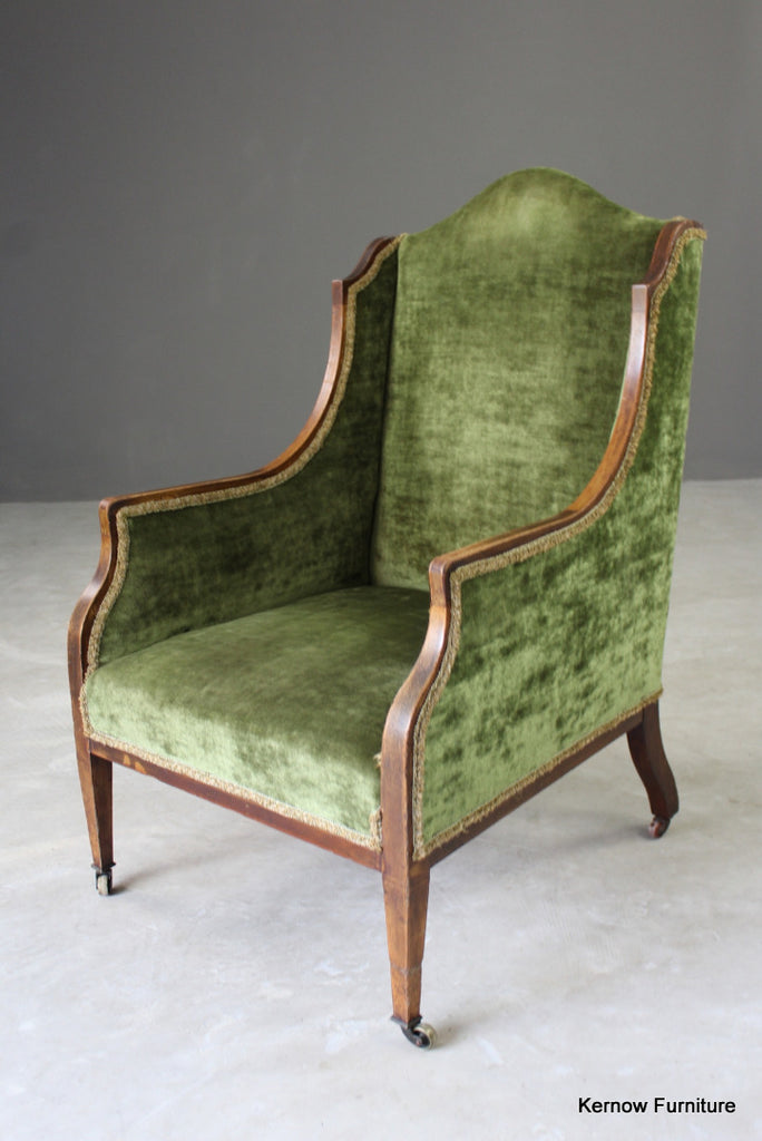 Antique Green Armchair - vintage retro and antique furniture