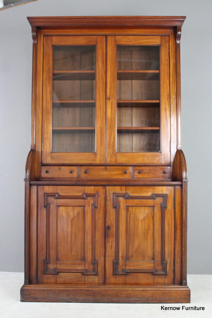 Antique Victorian Mahogany Bookcase - Kernow Furniture