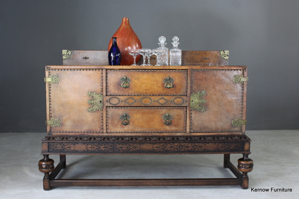 Early 20th Century Brown Leather Studded Sideboard