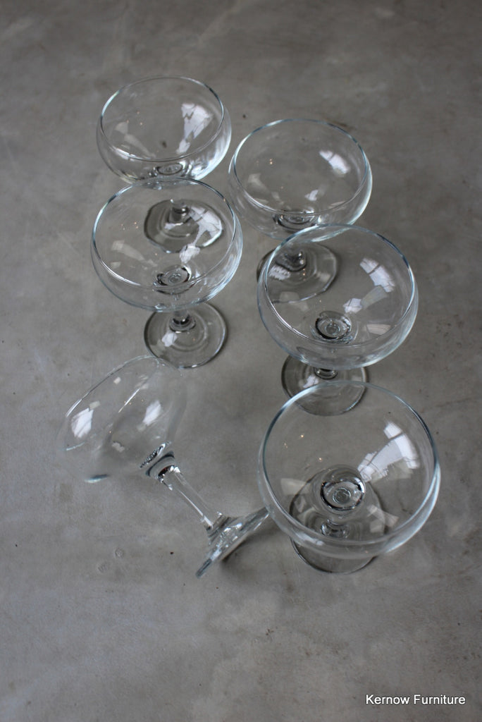 6 Glass Champagne Martini Saucers Glasses - vintage retro and antique furniture