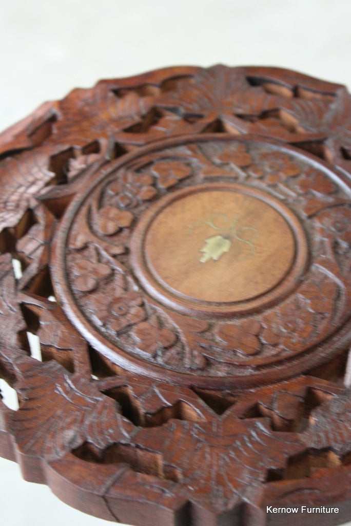 Small Carved Indian Side Table - Kernow Furniture
