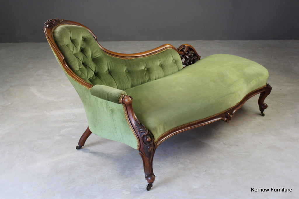 Victorian Walnut Button Back Chaise Longue - Kernow Furniture