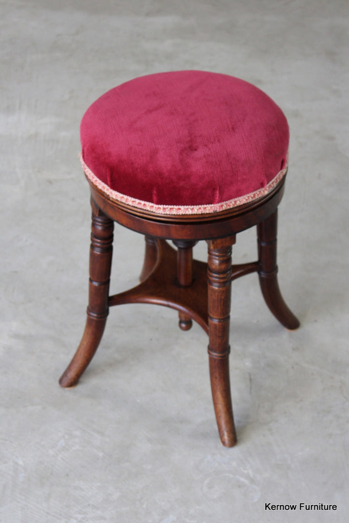 Antique Adjustable Music Stool - vintage retro and antique furniture