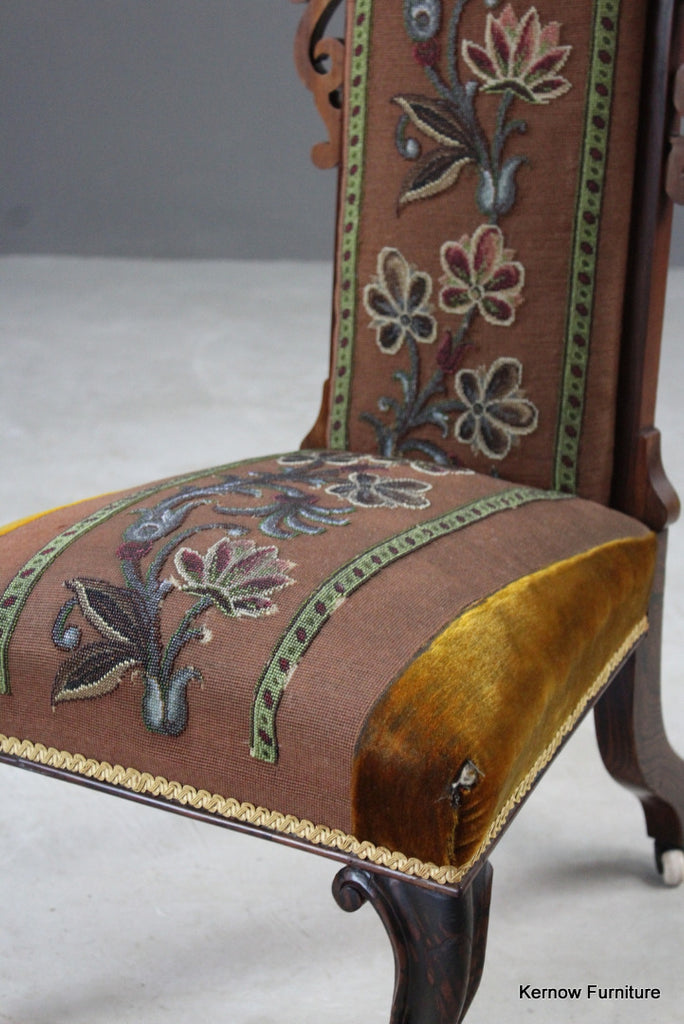 Antique Rosewood Beaded Tapestry Prie Dieu - Kernow Furniture