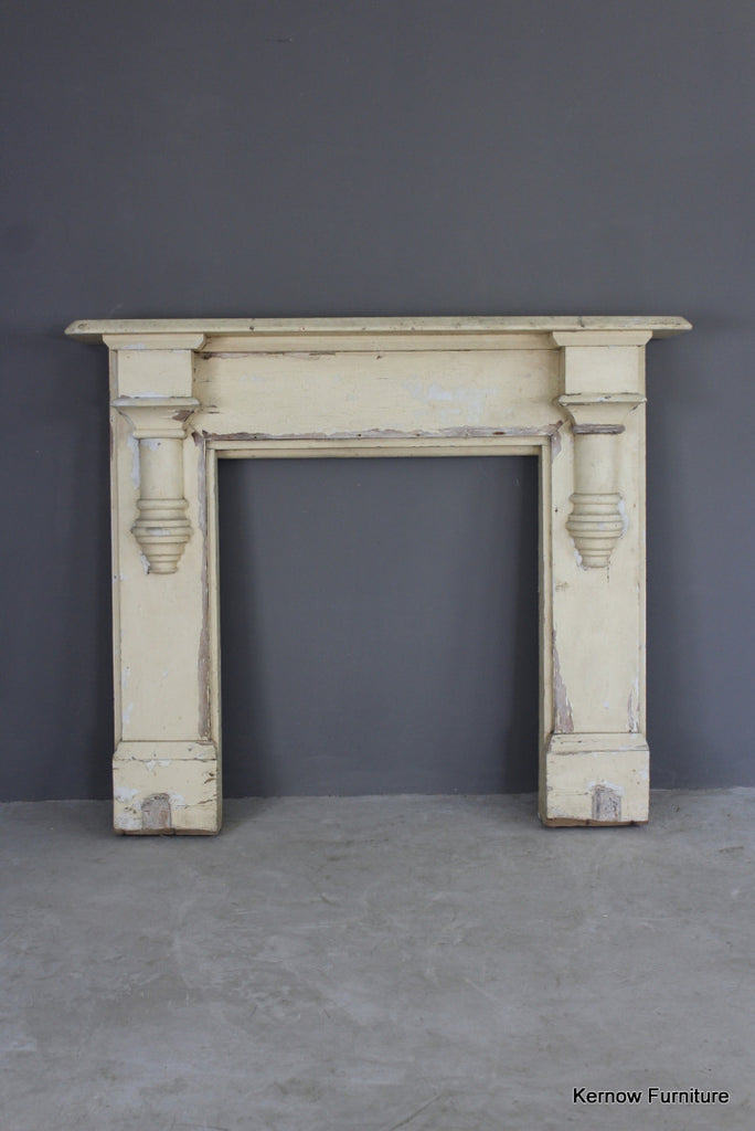 Antique Painted Pine Fire Surround - vintage retro and antique furniture