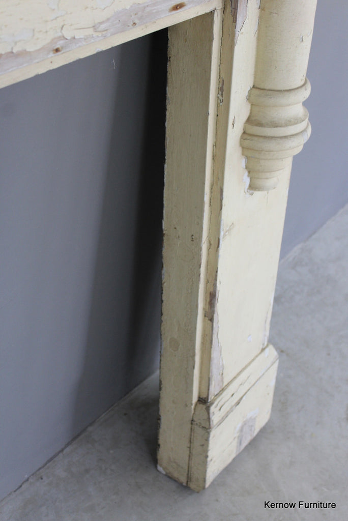 Antique Painted Pine Fire Surround - Kernow Furniture