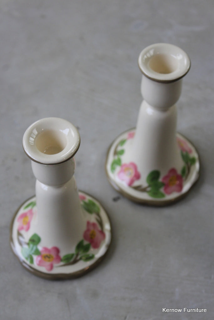 Vintage Floral Candlesticks - Kernow Furniture